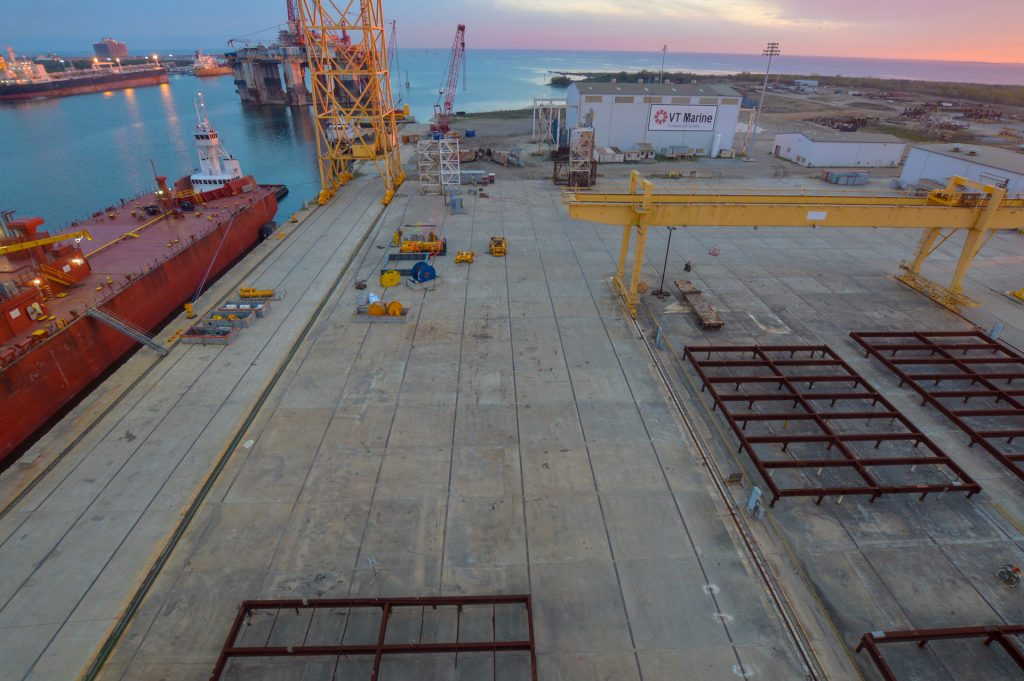 Gulf of Mexico Ship Build OwlBox 4K Construction Camera Time-Lapse System & Services